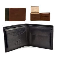Tony Perotti Men's Italian Cow Leather Bifold Wallet with Coin Pouch and Removable ID Window Credit Card Case