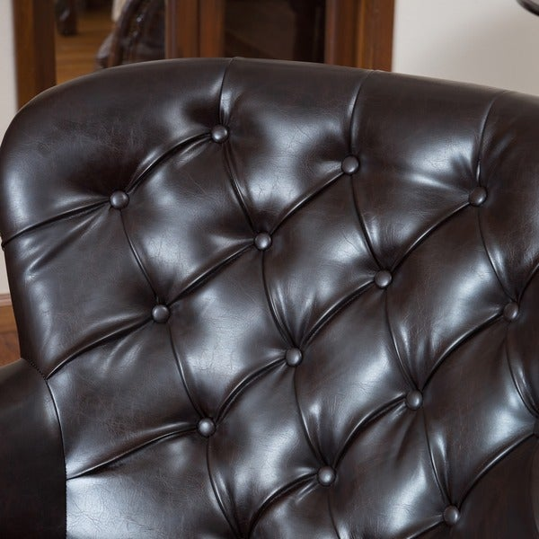 Tafton Tufted Oversized Brown Leather Club Chair By Christopher Knight Home    Free Shipping Today   Overstock.com   13724005