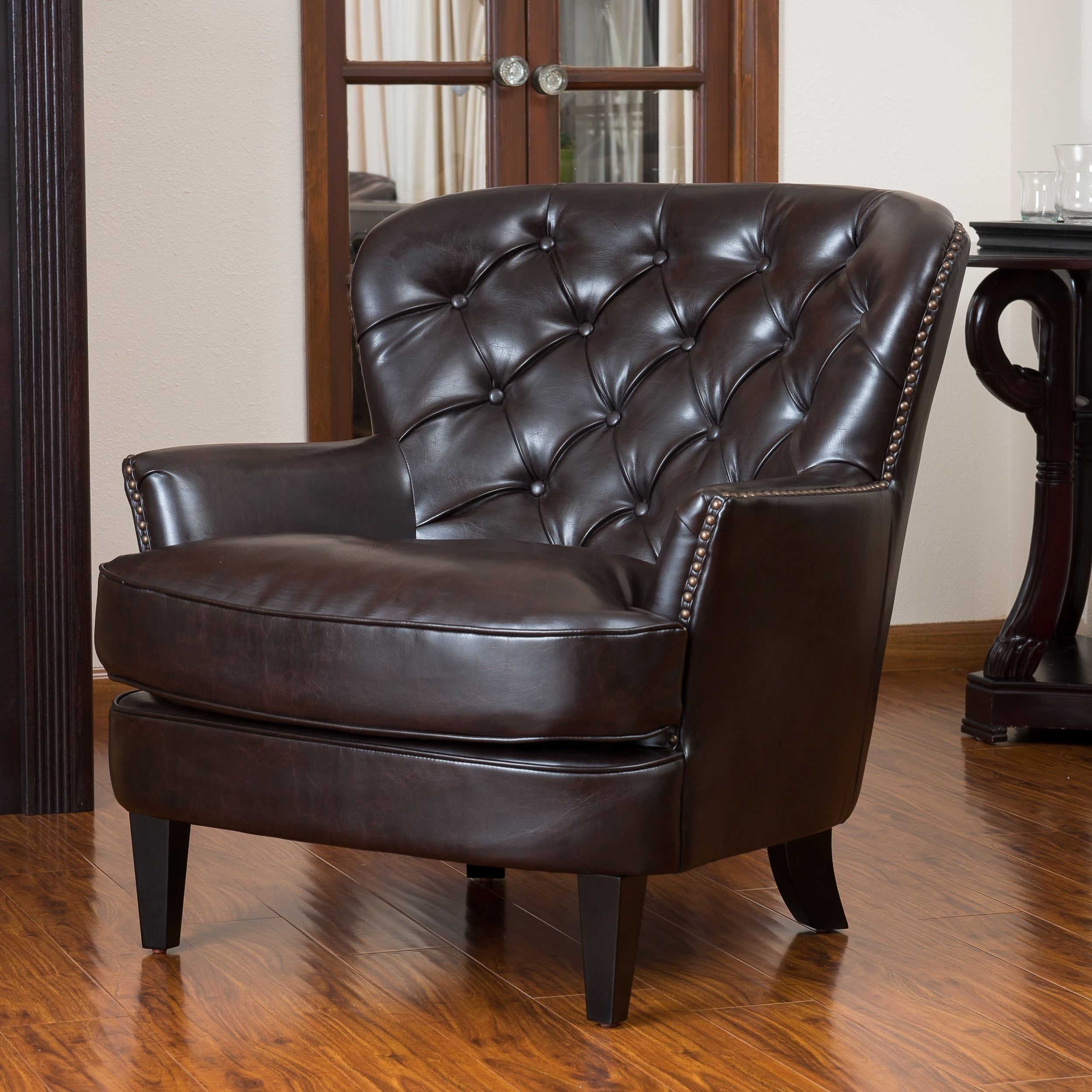 Oversized Brown Leather Chair Wide Seat Button Tufted Sofa ...