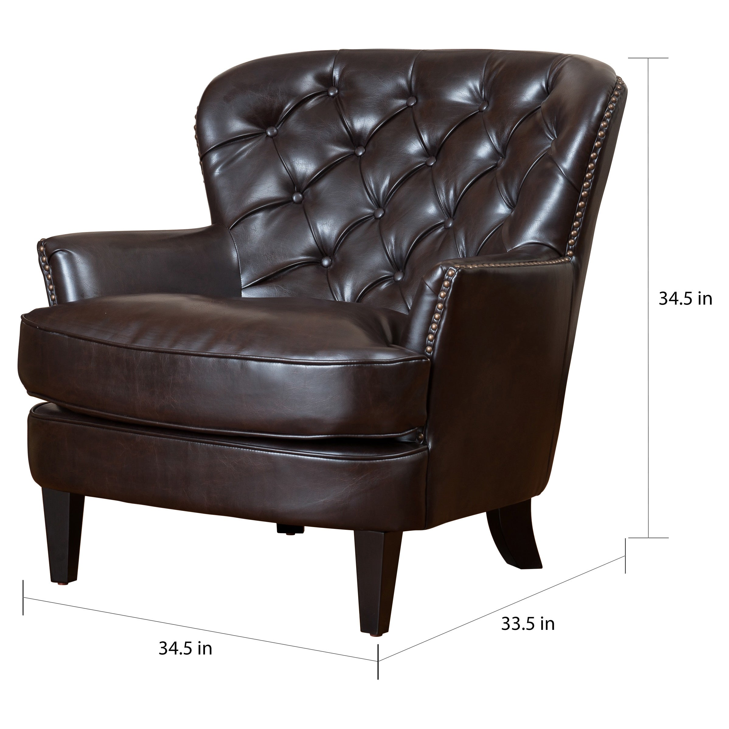 Picture of: Tafton Oversized Brown Leather Tufted Club Chair By Christopher Knight Home On Sale Overstock 6045761