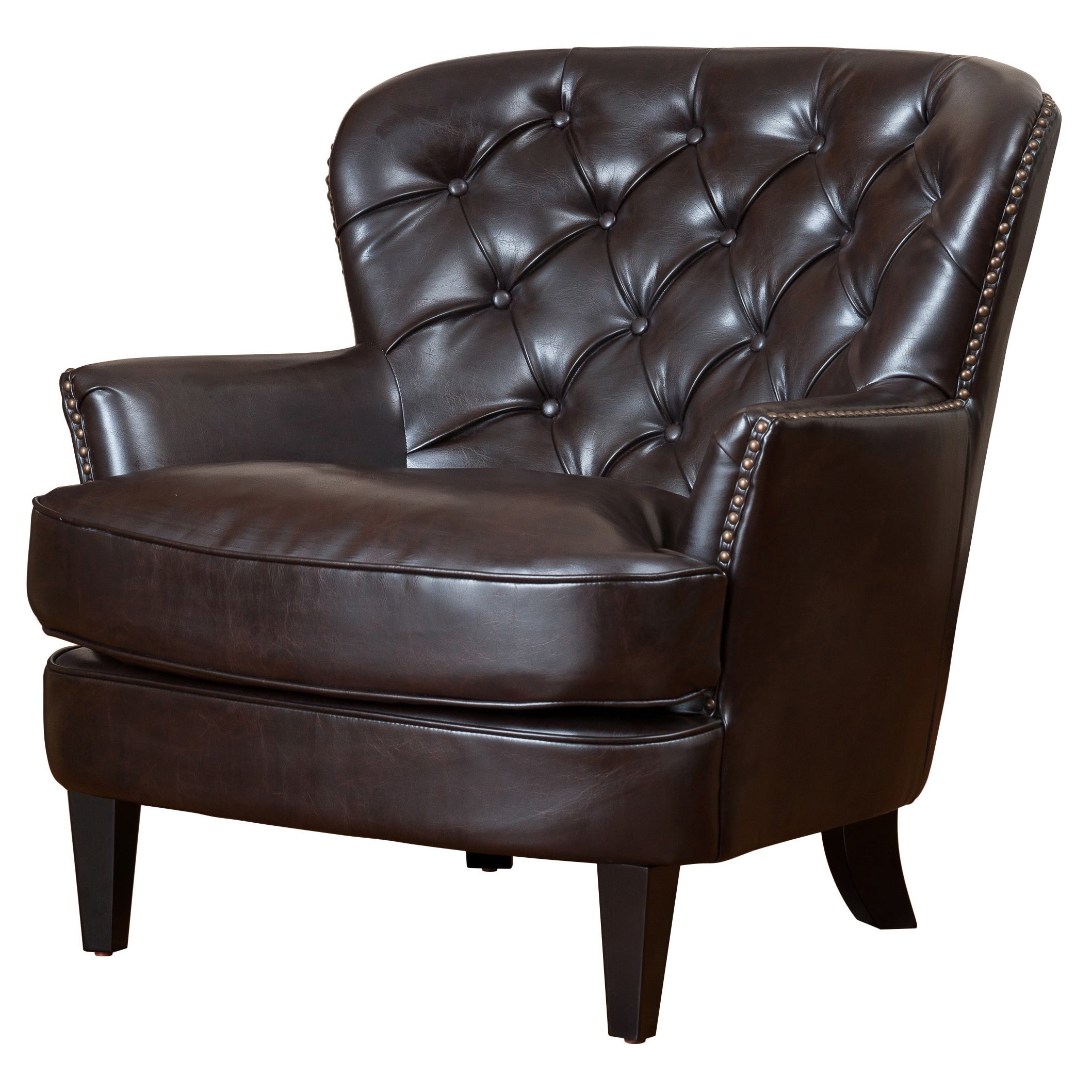 Tafton Oversized Brown Leather Tufted Club Chair By Christopher Knight Home On Sale Overstock 6045761