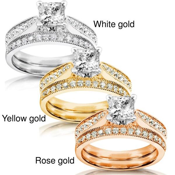 Annello by Kobelli 14k White Gold 1 1/3ct TDW Diamond Bridal Ring Set (H-I, I1-I2)