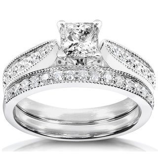 Annello 14k Gold 4/5ct TDW Diamond Bridal Ring Set
