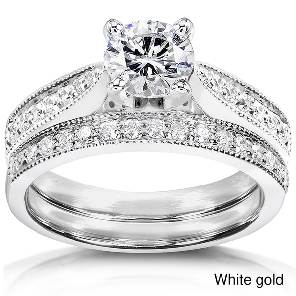 Annello by Kobelli 14k Gold 1 1/3ct TDW Round Cut Diamond Bridal Set (H-I, I1-I2)
