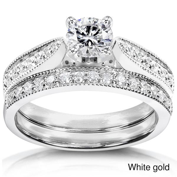 Annello 14k Gold 4/5ct TDW Diamond Bridal Rings Set (H-I, I1-I2)