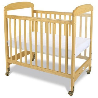 Foundations Serenity Clearview Natural Hardwood Compact Crib with Mattress
