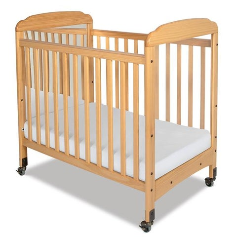 Serenity Natural Mirrored End Fixed-Side Compact Crib with Mattress