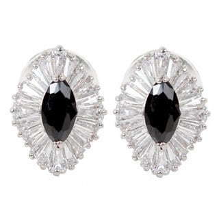 NEXTE Jewelry Silvertone Black and White Cubic Zirconia Earrings