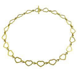 Fremada 14k Yellow Gold Heart-Link Toggle Necklace