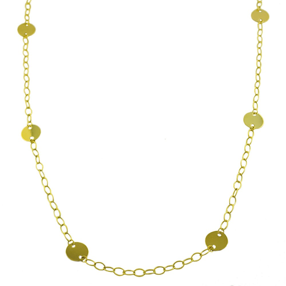 Fremada 14k Yellow Gold 36-inch Disk Station Necklace - Thumbnail 0