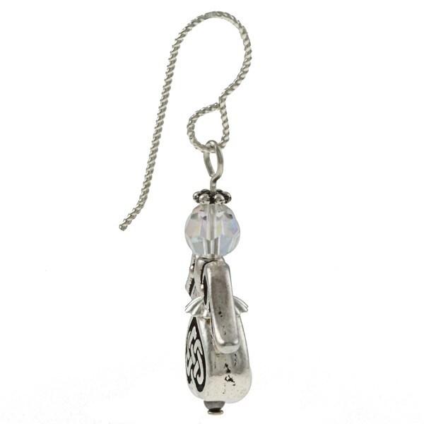 MSDjCASANOVA Silverplated Pewter Celtic Angel Crystal Earrings