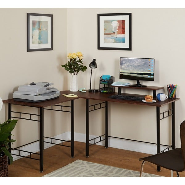 Simple Living L-shaped Espresso Computer Desk