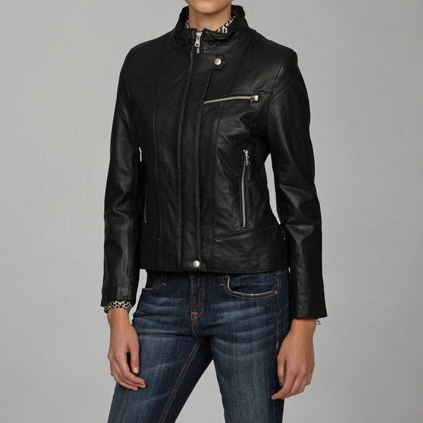 Izod Women's Lamb-leather Zipper Buckle Jacket
