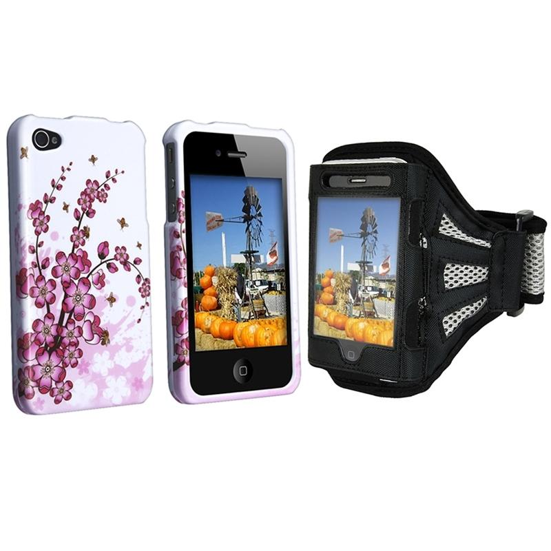 INSTEN 2-piece 'Spring Flowers' Armband/ Phone Case Cover for Apple iPhone 4