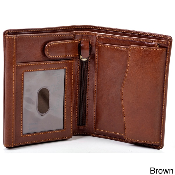 Tony Perotti Men's Italian Bull Leather Executive Trifold Wallet with ID Window and Coin Pouch