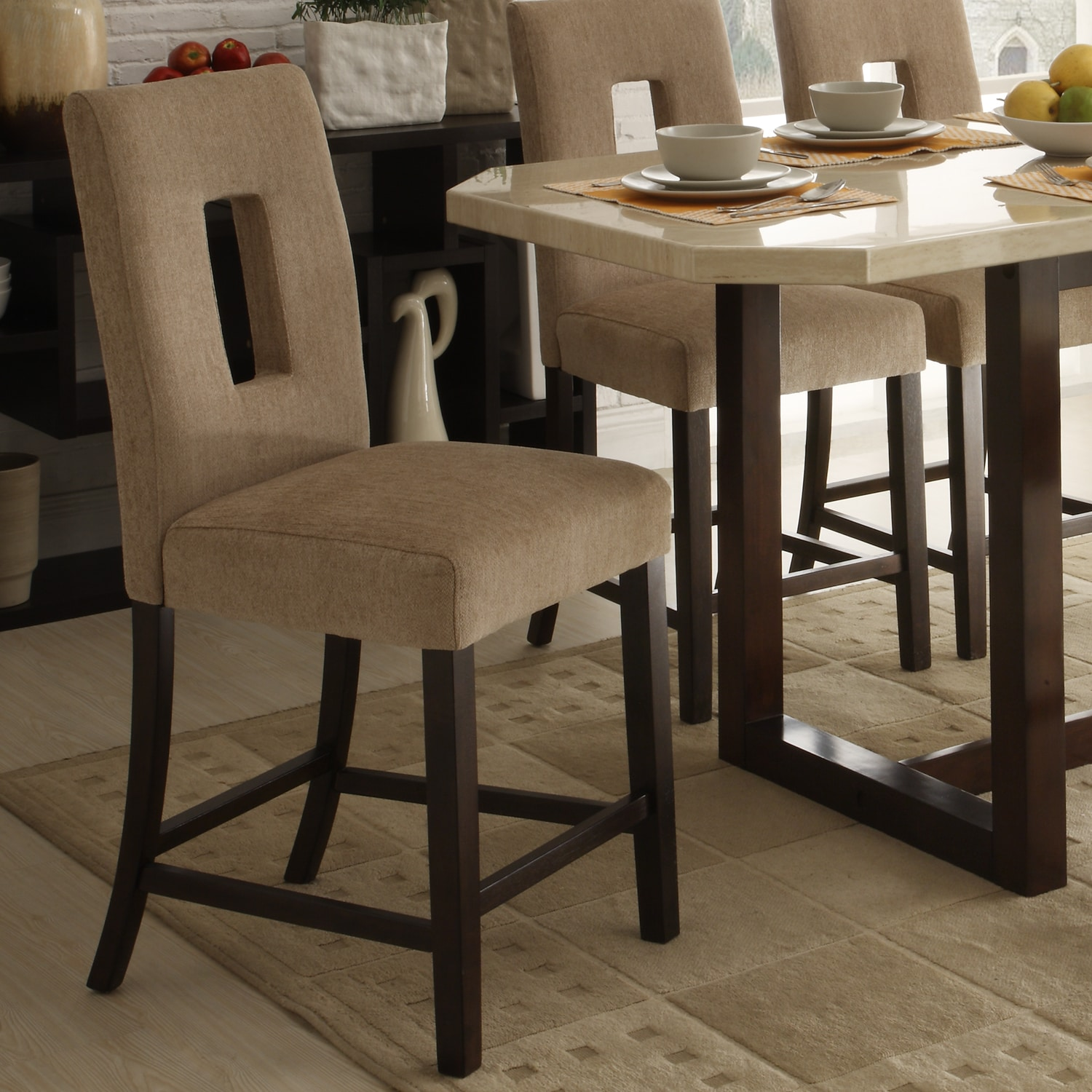 Camille Beige Fabric Upholstered Counter Height Stool Set