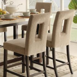 Camille Beige Fabric Upholstered Counter Height High Back Stool (Set of 2)