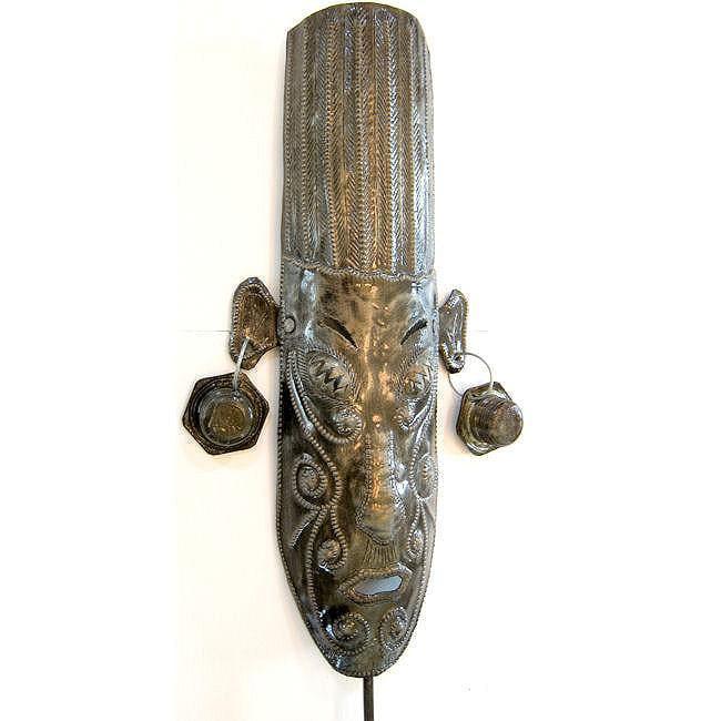 Recycled Steel Drum Ancient Warrior Mask Art (Haiti)