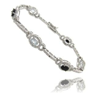 Dolce Giavonna Silvertone Sapphire, Topaz and Diamond Accent Bracelet