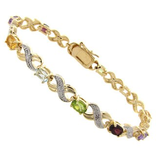 Dolce Giavonna 14k Gold Overlay Multi-Gemstone and Diamond Accent 'X' and 'O' Bracelet