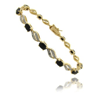 Dolce Giavonna 14k Gold Overlay Sapphire and Diamond Accent Marquise Bracelet