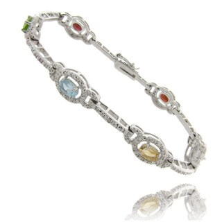 Dolce Giavonna Silverplated Multi-Gemstone and Diamond Accent Link Bracelet