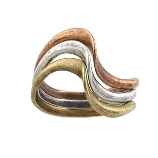 Silvermoon Sterling Silver, Copper and Brass Stackable Ring Set - Silver