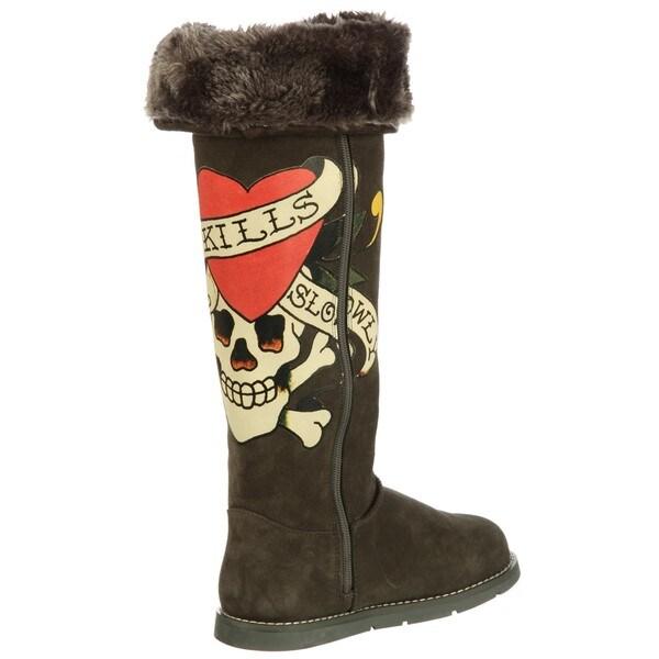 4821de63155 Shop Ed Hardy Women's 'Himalaya 2' Faux Fur High Boots FINAL SALE ...