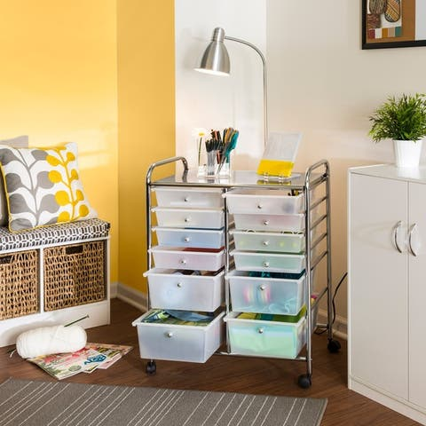 Honey Can Do 12-drawer Rolling Cart - Silver