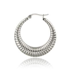 Mondevio Stainless Steel Rope Design Hoop Earrings - Thumbnail 1