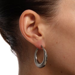 Mondevio Stainless Steel Rope Design Hoop Earrings - Thumbnail 2