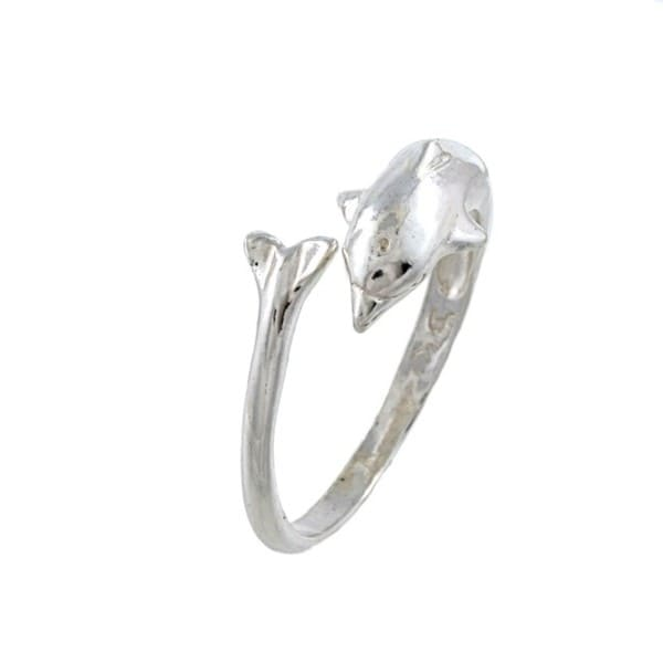 High Polished Sterling Silver Wavy Dolphin Ring