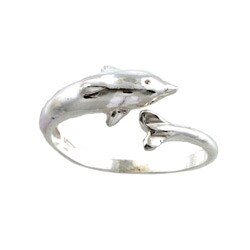 Silvermoon Sterling Silver Dolphin Adjustable Ring (Option: Large)