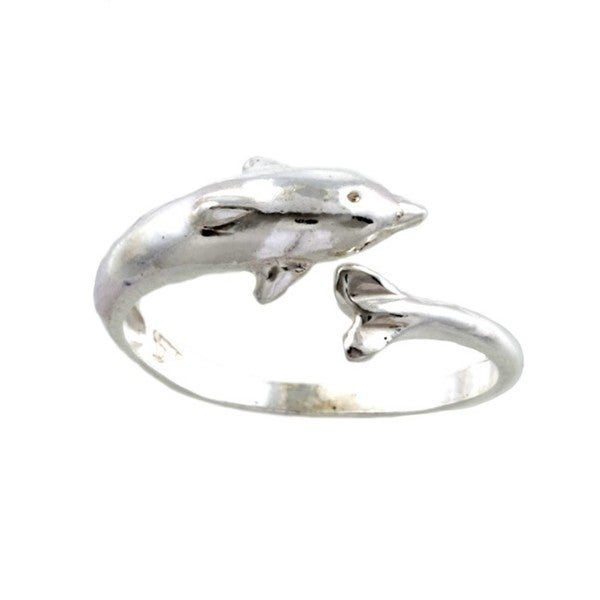Silvermoon Sterling Silver Dolphin Adjustable Ring