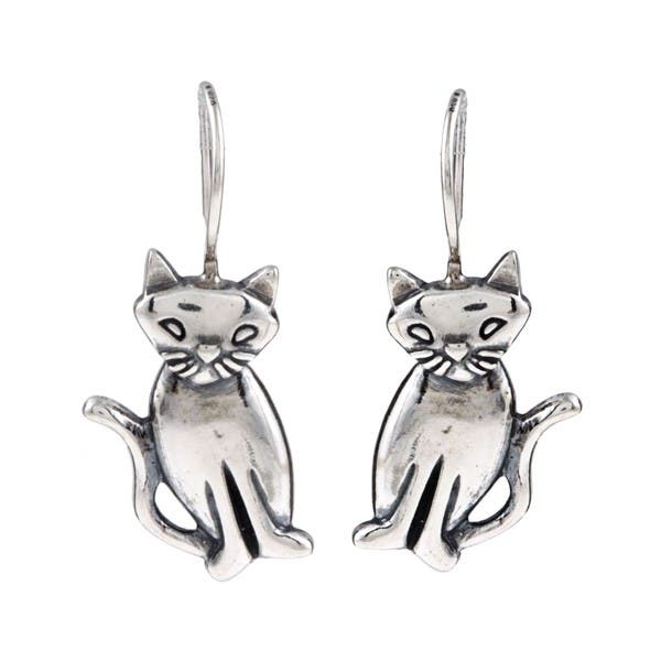 Details about  /Shiny Solid 925 Sterling Silver Cute Small Cat Kitty Kitten Stud Earrings Gift