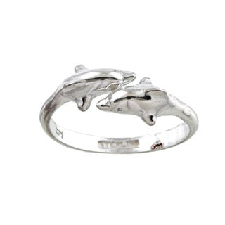 Silvermoon Sterling Silver Double Dolphin Adjustable Ring (2 options available)