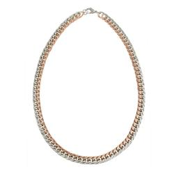 Mondevio Rose Gold over Stainless Steel 24-inch Rope Chain Necklace