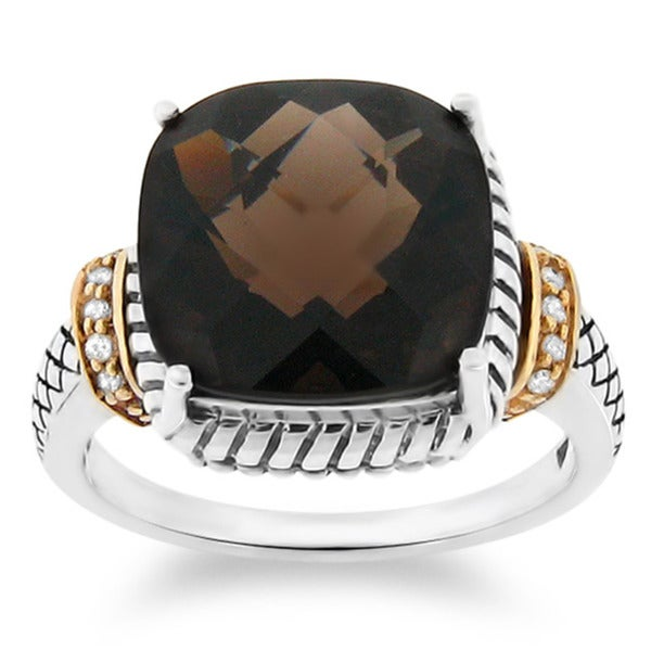 Meredith Leigh 14k Gold and Silver Smoky Quartz and Diamond Accent Ring