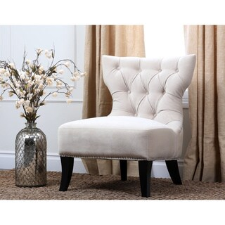 Abbyson Sedona Light Cream Microsuede Nailhead Chair
