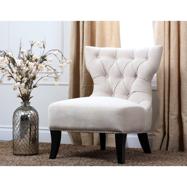 Abbyson Sedona Light Cream Microsuede Nailhead Chair