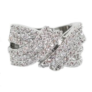 NEXTE Jewelry Silvertone Wraparound Ring with 134 Prong-set Round-cut Cubic Zirconia