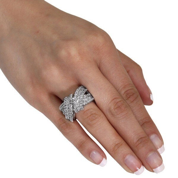 NEXTE Jewelry Silvertone Wraparound Ring with 134 Prong-set Round-cut Cubic Zirconia