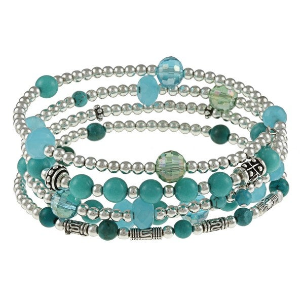 Lola's Jewelry Stainless Steel Turquoise 5-coil Wrap Bracelet