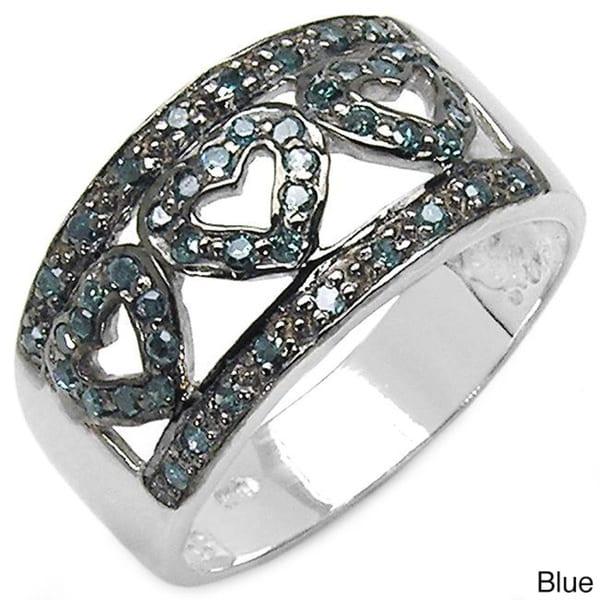 Malaika Sterling Silver 3/8ct TDW Black or Blue Diamond Heart Ring