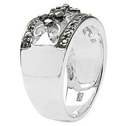 Malaika Sterling Silver 1/2ct TDW Blue Diamond Ring - Thumbnail 1