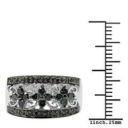 Malaika Sterling Silver 1/2ct TDW Blue Diamond Ring - Thumbnail 2