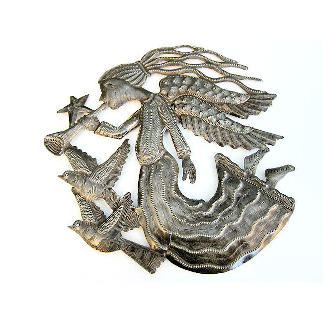 Recycled Steel Drum Angel with Birds and Horn Wall Art (Haiti)