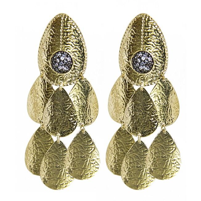 Adee Waiss 18k Gold Overlay Clear Cubic Zirconia Chandelier Earrings
