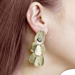 Adee Waiss 18k Gold Overlay Clear Cubic Zirconia Chandelier Earrings - Thumbnail 2
