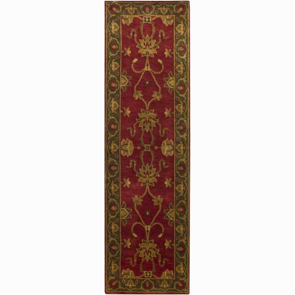 Hand-knotted Mandara Oriental Red New Zealand Wool Rug (2'